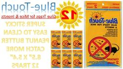 12 Traps 6 Pack Blue Touch Sticky Mouse Traps, Mouse Glue Bo